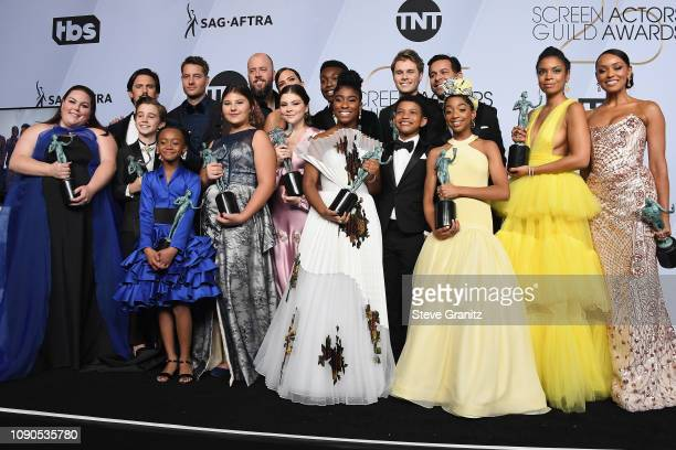 The cast of This Is Us winners of the Outstanding Performance by an Ensemble in a Drama Series pose in the press room during the 25th Annual Screen...