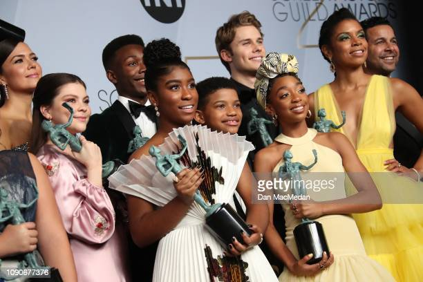 The cast of 'This Is Us' winners of the Outstanding Performance by an Ensemble in a Drama Series pose in the press room during the 25th Annual Screen...