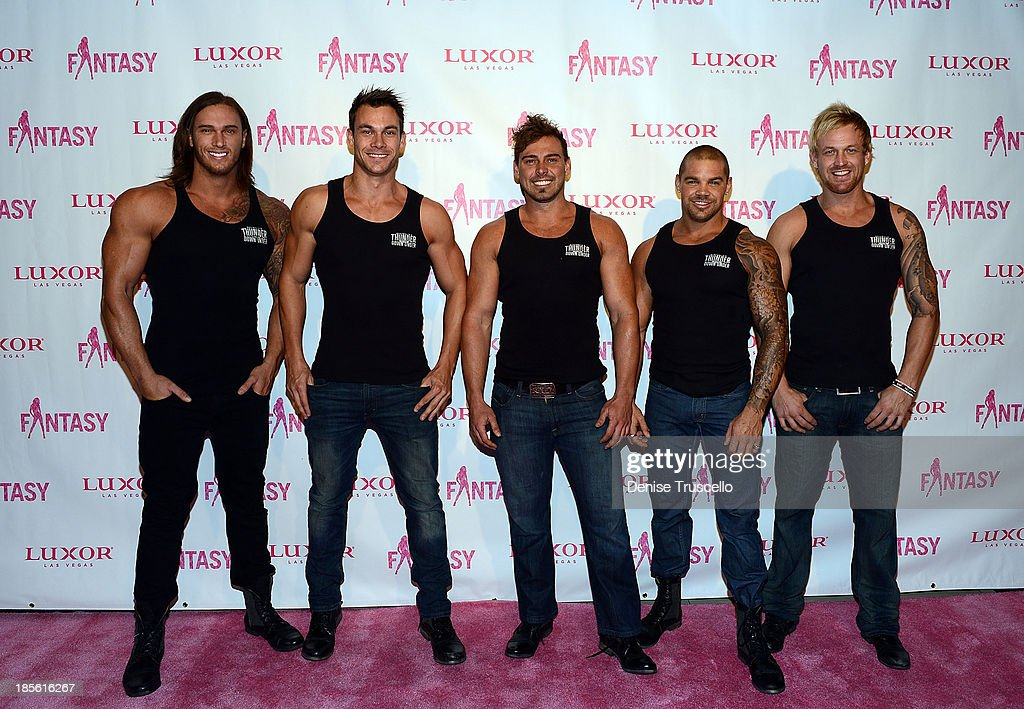 The cast of Thunder From Down Under arrive at the FANTASY calendar launch at the Luxor Hotel and Casino on October 22, 2013 in Las Vegas, Nevada.