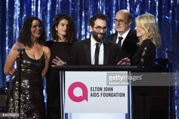 The cast of Transparent speak onstage at the 25th Annual Elton John AIDS Foundation's Academy Awards Viewing Party at The City of West Hollywood Park...