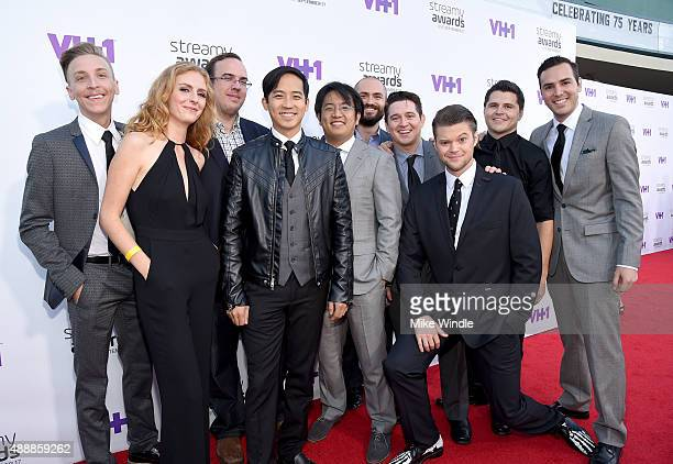 The cast of Video Game High School attends VH1's 5th Annual Streamy Awards at the Hollywood Palladium on Thursday September 17 2015 in Los Angeles...