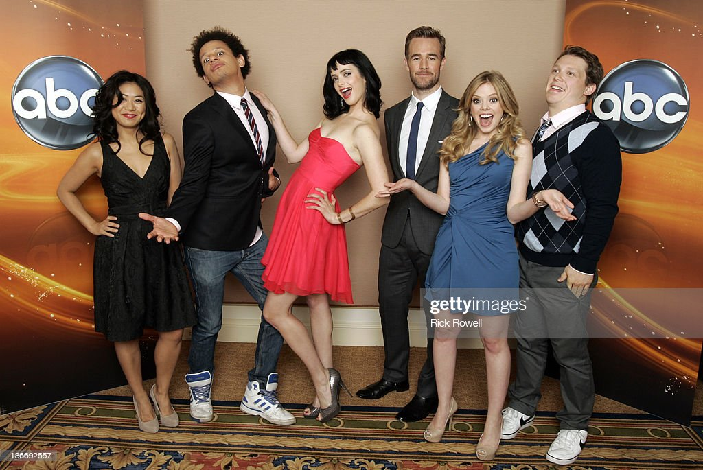 TOUR 2012 - The cast of ABC's 'Don't Trust the B---- in Apartment 23' posed for a photo op at Disney/ABC Television Group's Winter Press Tour 2012. LIZA
