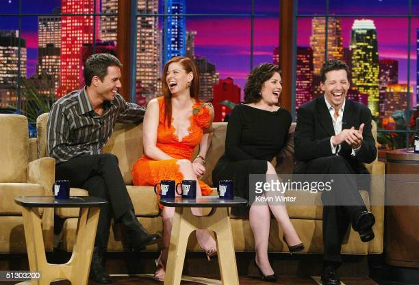 The cast of 'Will and Grace' Eric McCormack Debra Messing Megan Mullally and Sean Hayes appear on 'The Tonight Show with Jay Leno' at the NBC Studios...