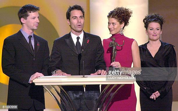 The cast of Will and Grace Sean Hayes Eric McCormack Debra Messing and Megan Mullally accept the award for Outstanding Ensemble in a Comedy Series at...