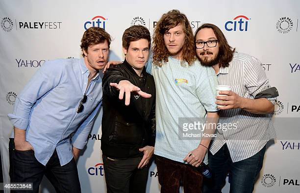The cast of Workaholics including Anders Holm Adam DeVine Blake Anderson and Kyle Newacheck participate in a discussion at The Paley Center For...