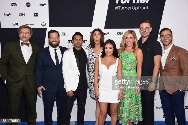 The cast of Wrecked Rhys Darby Brian Sacca Asif Ali Brook Dillman Ally Maki Jessica Lowe Zack Cregger and Brian Sacca attends the Turner Upfront 2017...