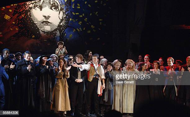The cast on stage at the 20th Anniversary Celebration of Les Miserables show at the Queens Theatre on October 8 2005 in London England