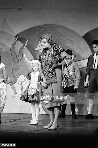 The cast on stage during a special dress rehearsal for 'Gypsy' at the Piccadilly Theatre Left to right Little Bonnie Langford playing the daughter of...