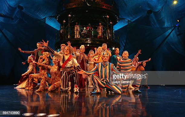 The cast on stage during the Cirque du Soleil KOOZA Sydney Dress Rehearsal at The Entertainment Quarter on August 24 2016 in Sydney Australia