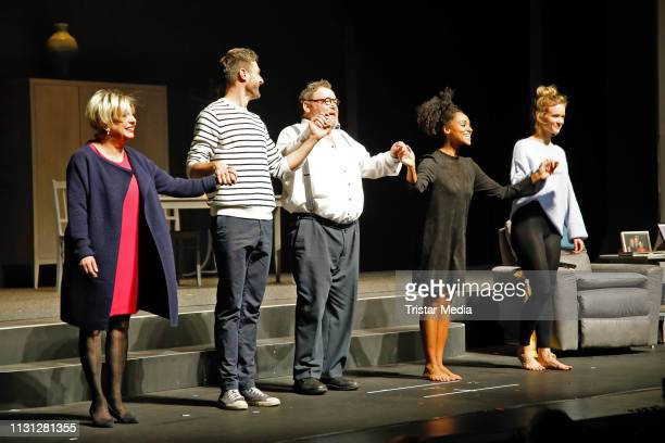 The cast on stage during the 'Monsieur Pierre geht online' premiere at Theater am Kurfuerstendamm on March 17 2019 in Berlin Germany