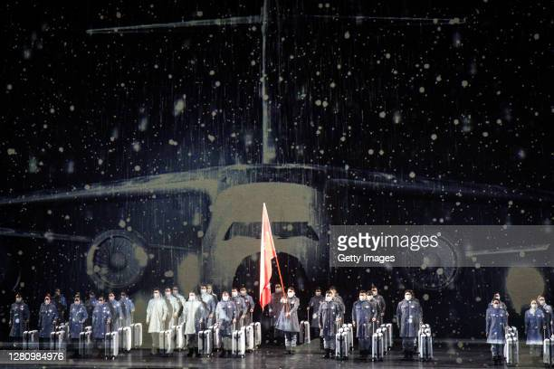 The cast perform as nurses on stage during the opera Angel's Diary on October 18 2020 in Wuhan Hubei province China The opera paying tribute to...
