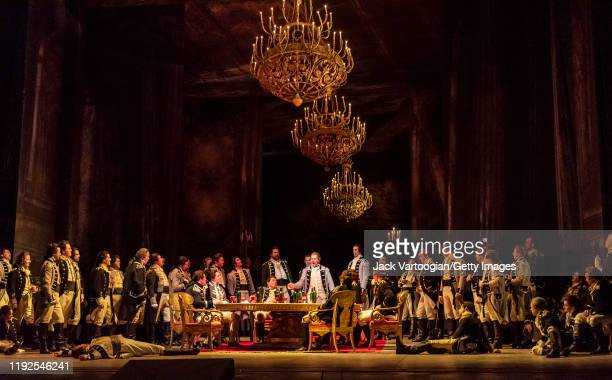 The cast perform in a scene during the final dress rehearsal prior to the season revival of the Metropolitan Opera/Elijah Moshinsky production of...
