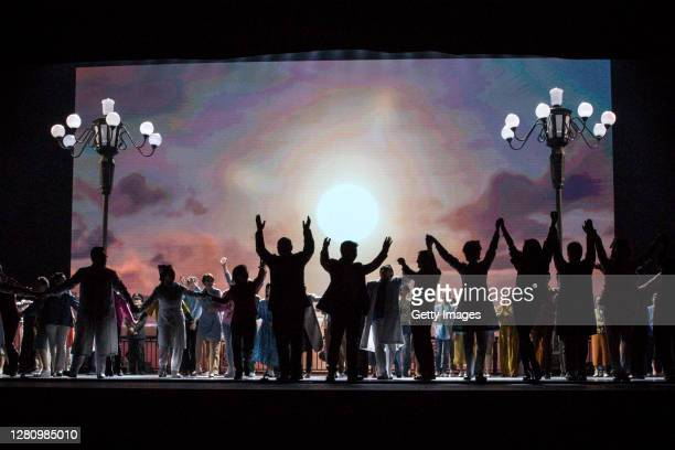 The cast perform on stage during the opera Angel's Diary on October 18 2020 in Wuhan Hubei province China The opera paying tribute to medical staff...
