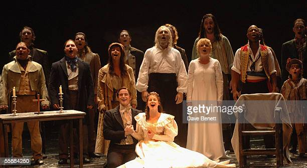 The cast perform the final song at the 20th Anniversary Celebration of Les Miserables show at the Queens Theatre on October 8 2005 in London England