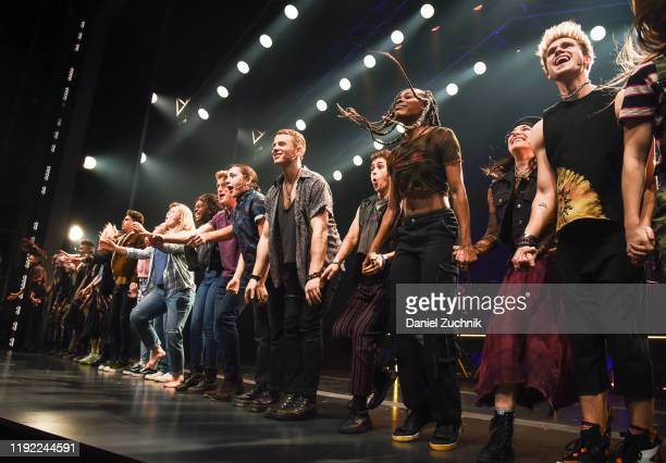 The cast performs during the curtain call of the opening night of the broadway show Jagged Little Pill at Broadhurst Theatre on December 05 2019 in...