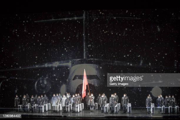The cast play nurses as they perform on stage during the opera Angel's Diary on October 18 2020 in Wuhan Hubei province China The opera paying...