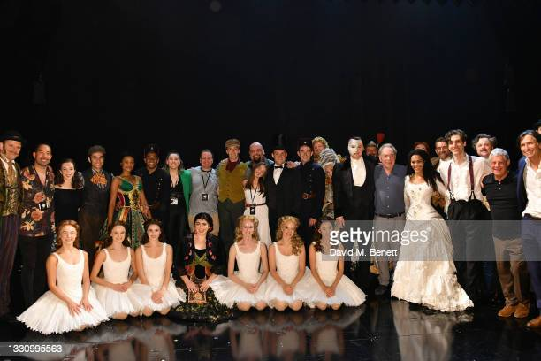 """The Cast pose backstage at the first return performance of Andrew Lloyd Webber's """"The Phantom Of The Opera"""" as it reopens in the West End following..."""