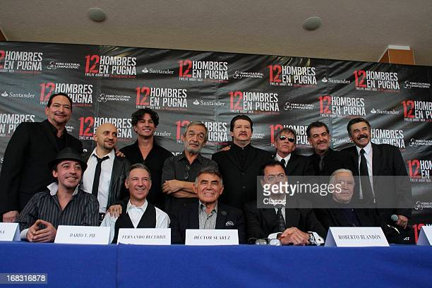 The cast pose during the presentation of the play 12 Angry Men at the Chapultepec Cultural Center on May 07 2013 in Mexico City Mexico