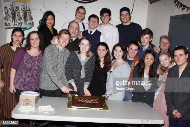 The cast poses as 'Spring Awakening' celebrates it's 2nd Anniversary on Broadway at The Eugene O'Neill Theater on December 10 2008 in New York City