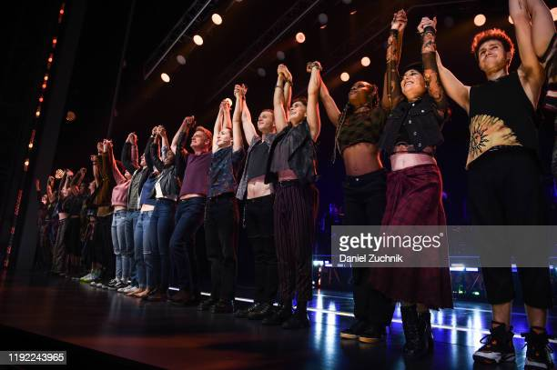 The cast poses during the curtain call of the opening night of the broadway show Jagged Little Pill at Broadhurst Theatre on December 05 2019 in New...