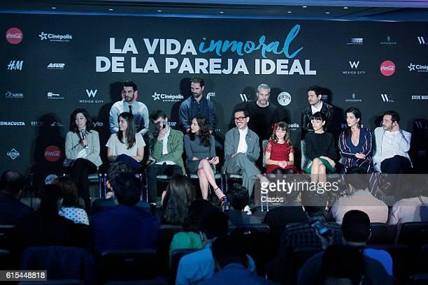 The cast poses during the presentation of the movie 'La Vida Inmoral de la Pareja Ideal' on October 17 Mexico City Mexico