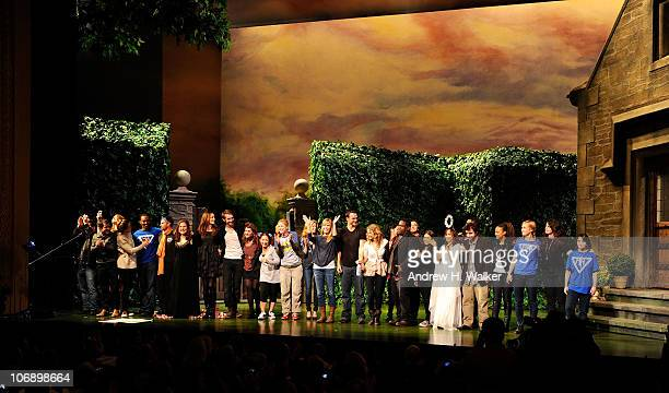 The cast poses onstage at the curtain call of the 10th annual production of the 24 Hour Plays on Broadway presented by MONTBLANC at American Airlines...
