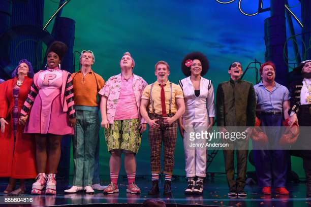 The Cast poses onstage during opening night of Nickelodeon's SpongeBob SquarePants The Broadway Musical at Palace Theatre on December 4 2017 in New...