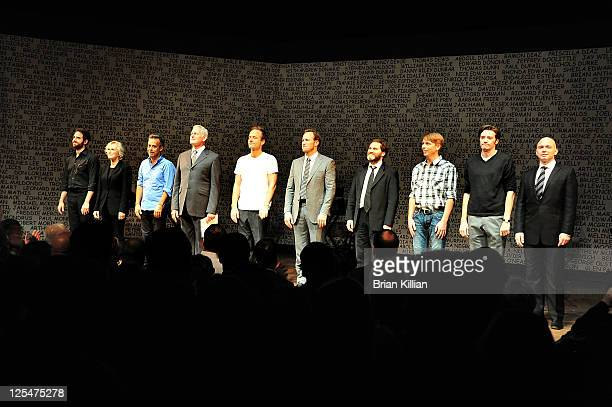 The cast returns to the stage for the curtain call and final bow of the 25th Anniversary benefit reading of 'The Normal Heart' at Walter Kerr Theatre...