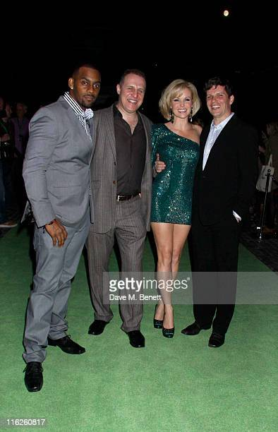 The cast Richard Blackwood Nigel Lindsay Amanda Holden and Nigel Harman attend the Shrek The Musical Press Night after party at Somerset House on...