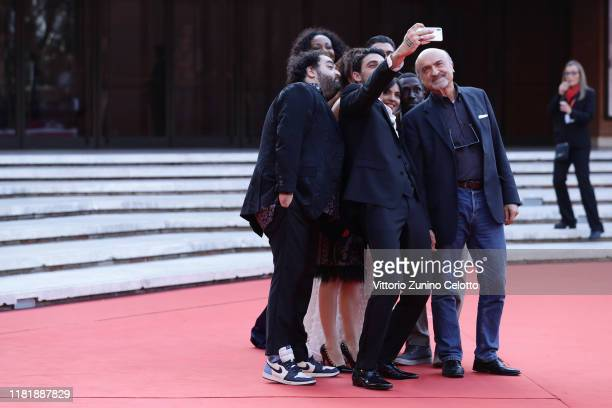 The cast take a selfie on the Bar Giuseppe red carpet during the 14th Rome Film Festival on October 18 2019 in Rome Italy