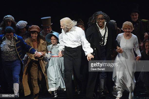 The cast take the curtain call at the 20th Anniversary Celebration of Les Miserables show at the Queens Theatre on October 8 2005 in London England