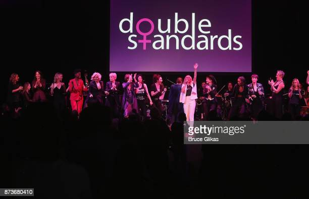 The cast take the curtain call perform in 'Double Standards' a concert benefitting womans rights heath and empowerment funding the ACLU National...