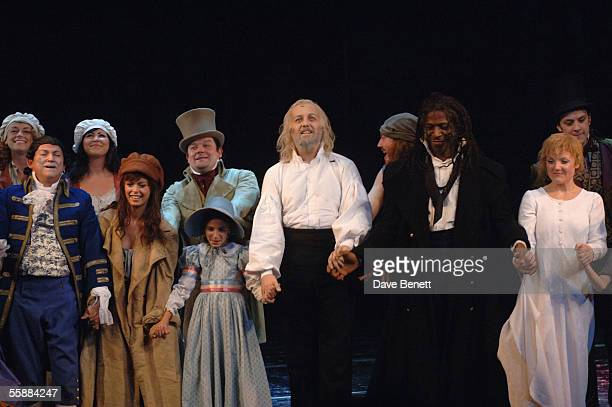 The cast take their curtain call at the '20th Anniversary Celebration of Les Miserables' show at theQueens Theatre on October 8 2005 in London England
