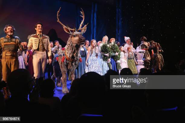 The cast take their opening night curtain call for Disney's new hit musical Frozen on Broadway at The St James Theatre on March 22 2018 in New York...