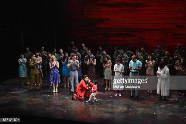 The cast takes part in the curtain call on the opening night of 'Miss Saigon' Broadway at the Broadway Theatre on March 23 2017 in New York City