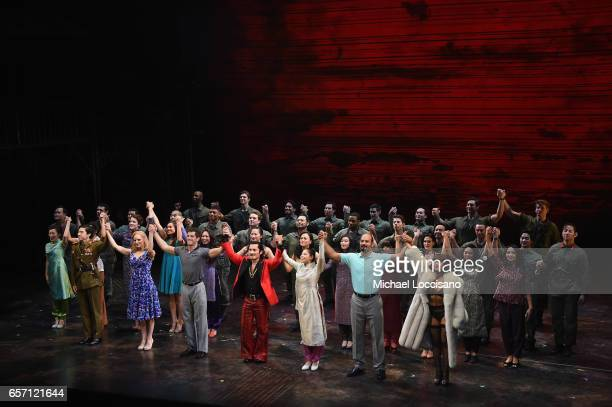 The cast takes part in the curtain call on the opening night of Miss Saigon Broadway at the Broadway Theatre on March 23 2017 in New York City