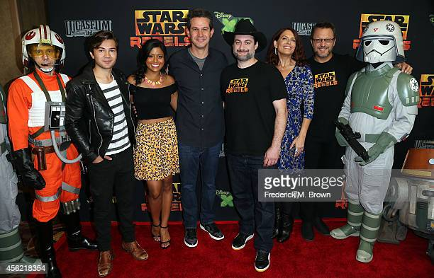 The cast Taylor Gray Tiya Sincar Simon Kinberg Dave Filoni Vanessa Marshall and Steve Blum attend the Screening of Disney XD's 'Star Wars Rebels...