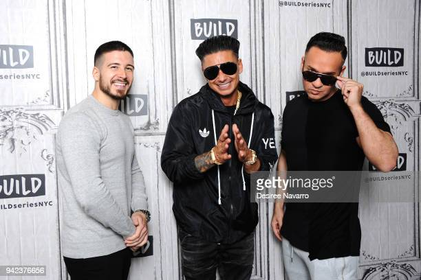 The cast Vinny Guadagnino Paul 'Pauly D' Delvecchio and Mike 'The Situation' Sorrentino visit Build series to discuss 'Jersey Shore Family Vacation'...