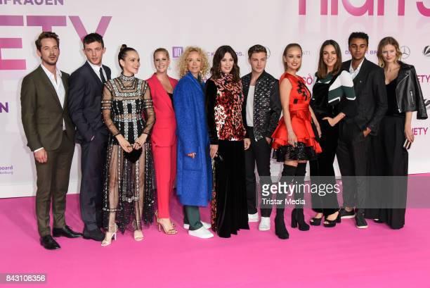 The cast with Marc Benjamin Jannis Niewoehner Caro Cult Emilia Schuele Katja Riemann Iris Berben and Jannik Schuemann attend the 'High Society'...