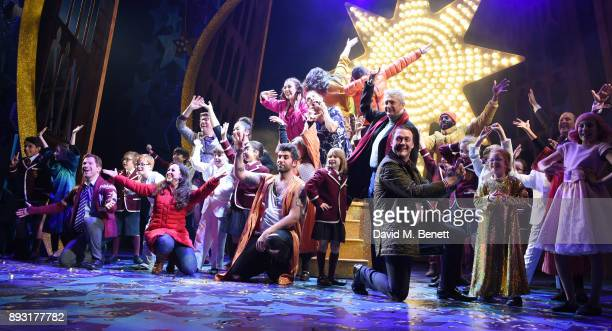 The cast with Simon Lipkin and Louis Walsh take the curtain call at the world premiere press night performance of 'Nativity The Musical' at Eventim...