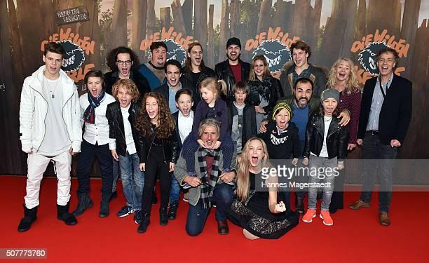 The cast with Wilson Gonzales Ochsenknecht and Jimi Blue Ochsenknecht during 'Die Wilden KerleDie Legende Lebt' Premiere at Mathaeser Filmpalast on...