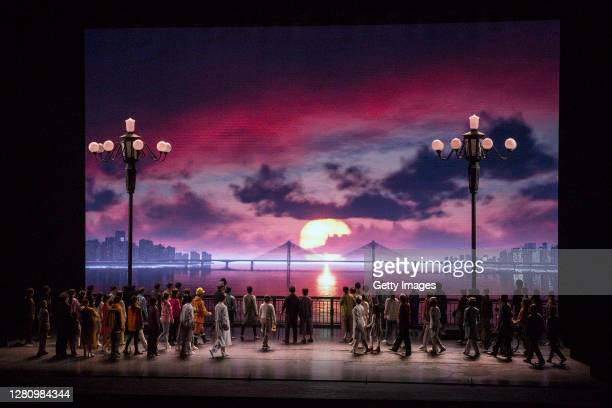 The cast y perform on stage during the opera Angel's Diary on October 18 2020 in Wuhan Hubei province China The opera paying tribute to medical staff...