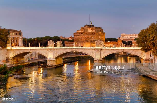 The Castel Sant'Angelo is seen at the Vittorio Emanuele II Bridge on October 30 2017 in Rome Italy Rome is one of the most popular tourist...