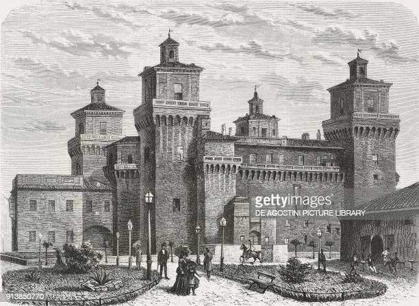 The Castello Estense in Ferrara, Italy, 14th-15th century, illustration after a drawing by Achille Ferrari, from the magazine L'Illustrazione...