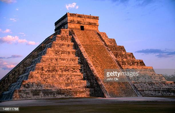 The Castle (El Castillo), also known as the Pyramid of Kukulcan, in the late afternoon sun. The Castle was originally built prior to 800AD.
