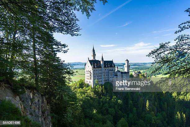 HOHENSCHWANGAU BAVARIA GERMANY The castle Neuschwanstein seen through trees in the last light of the day