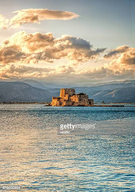 The castle of Bourtzi in Nafplio - Greece - during sundown