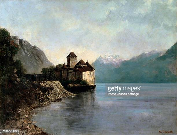 The Castle of Chillon Evening A castle by the lake Leman in Switzerland Painting by Gustave Courbet 19th century Ornans birthplace House of Gustave...