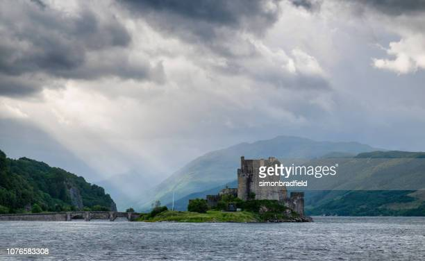 the castle of eilean donan - scotland flag stock photos and pictures