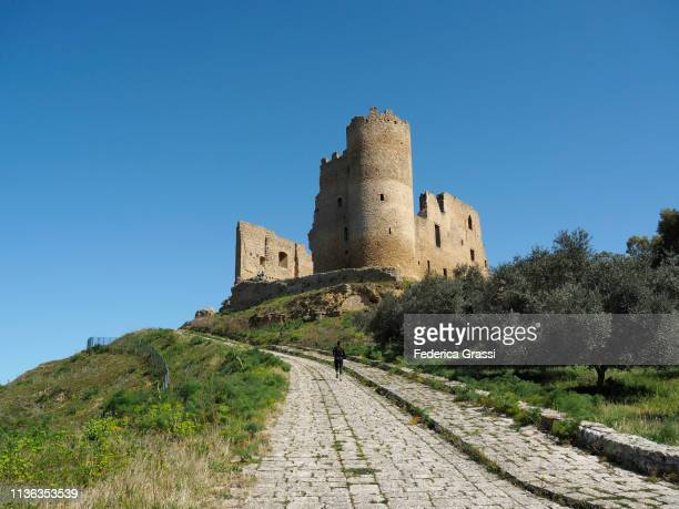 the castle of mazzarino a.k.a. u cannuni or castelvecchio - province of caltanissetta stock photos and pictures